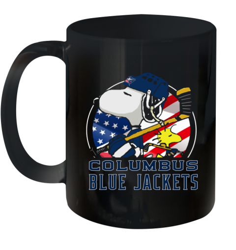 Columbus Blue Jackets  Snoopy And Woodstock NHL Ceramic Mug 11oz