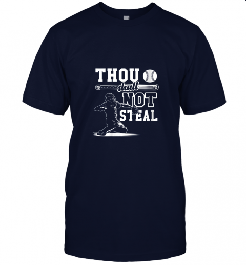 uf4o funny baseball thou shall not steal baseball player jersey t shirt 60 front navy