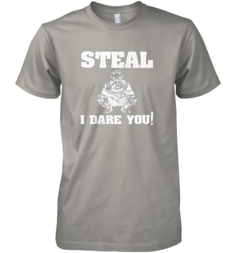 2ncy kids baseball catcher gift funny youth shirt steal i dare you33 premium guys tee 5 front light grey