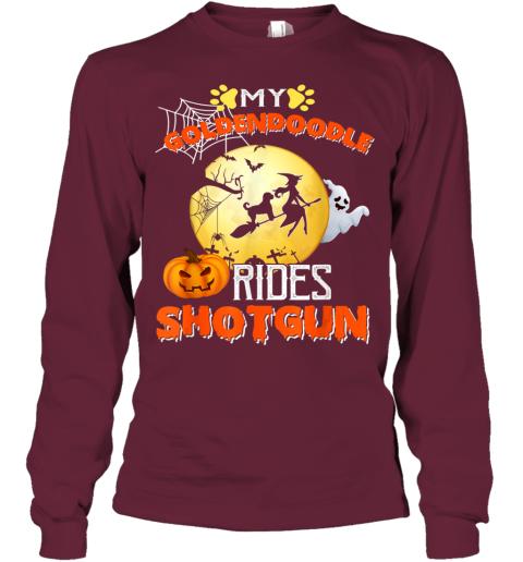 My Goldendoodle Rides Shotgun Halloween Dog Gift Youth Long Sleeve