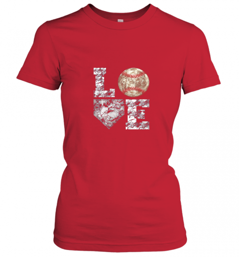 xawu baseball distressed ball cute dad mom love gift ladies t shirt 20 front red