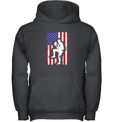 Vintage USA American Flag Baseball Player Team Gift Youth Hoodie