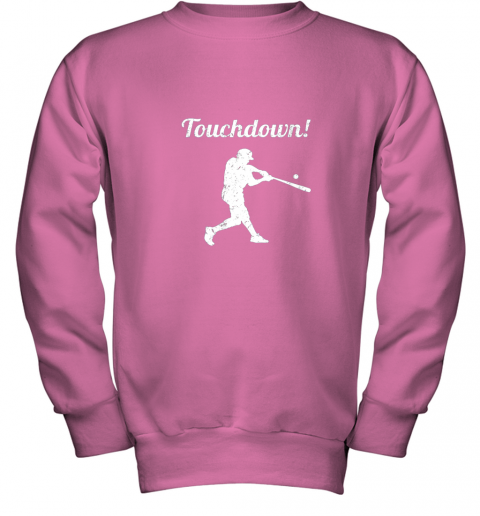 p0vj touchdown funny baseball youth sweatshirt 47 front safety pink