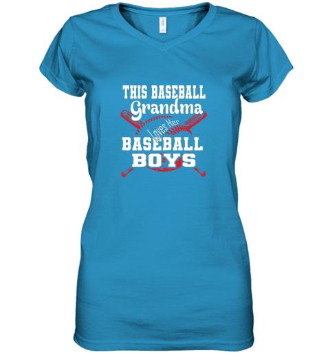jpjj this baseball grandma loves her baseball boys women v neck t shirt 39 front sapphire