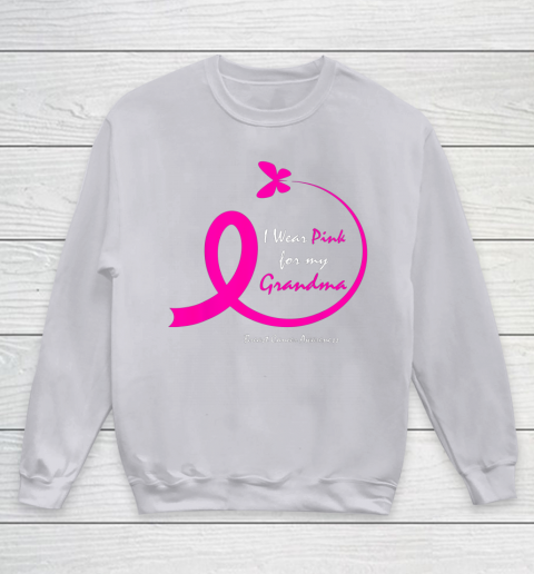 I Wear Pink for My Grandma Cancer Awareness Support Gift Cancer Survivor Family  Unisex Youth Crewneck Sweatshirt