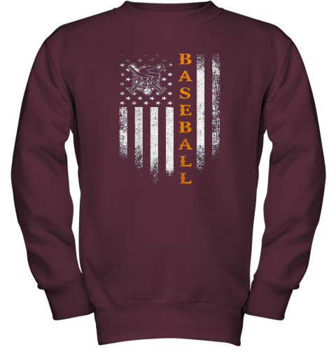 pttt vintage usa baseball distressed american flag patriotic gift youth sweatshirt 47 front maroon