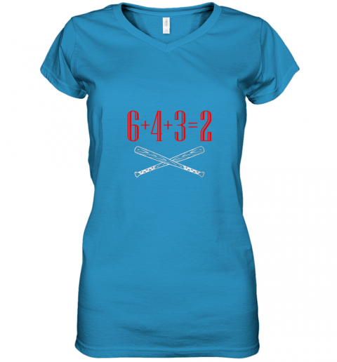 ury6 funny baseball math 6 plus 4 plus 3 equals 2 double play women v neck t shirt 39 front sapphire