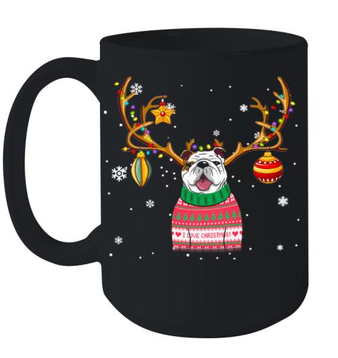 Bulldog Reindeer Christmas Holiday Funny T Shirt Ceramic Mug 15oz