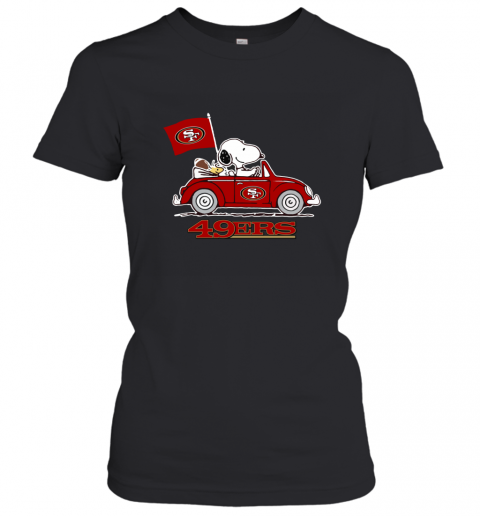 Snoopy And Woodstock Ride The San Francisco 49ers Car Women's T-Shirt