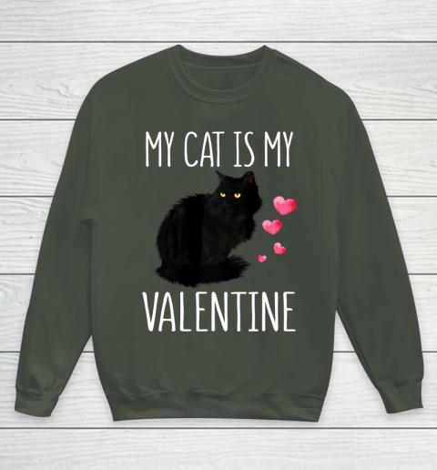Black Cat Shirt For Valentine s Day My Cat Is My Valentine Youth Sweatshirt 8