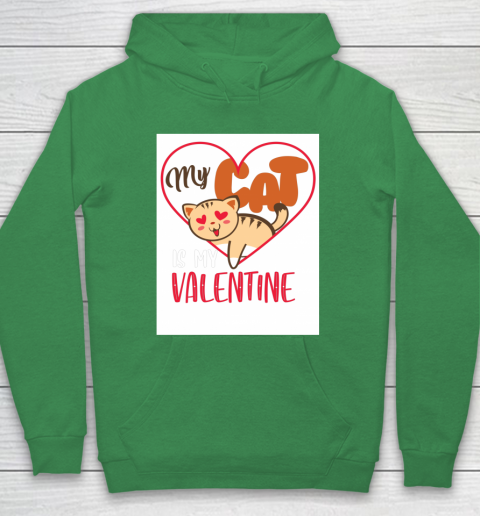 Cute My Cat Is My Valentine Cat Lover Valentines Day Gift Hoodie 5