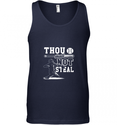 9lxv funny baseball thou shall not steal baseball player unisex tank 17 front navy