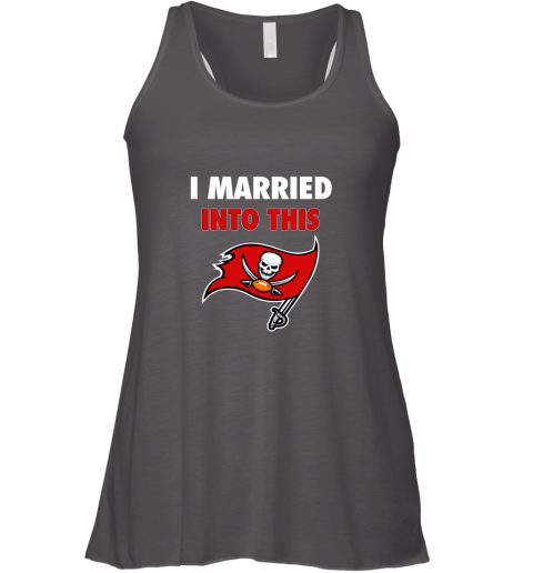 y7ou i married into this tampa bay buccaneers football nfl flowy tank 32 front dark grey heather