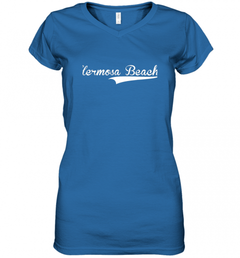lyrq hermosa beach baseball softball styled women v neck t shirt 39 front royal