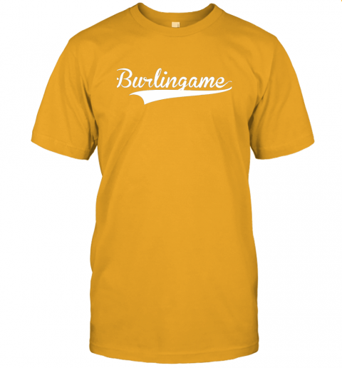 4j6a burlingame baseball softball styled jersey t shirt 60 front gold