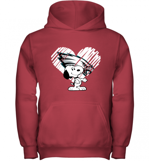 hdtu i love philadelphia eagles snoopy in my heart nfl youth hoodie 43 front red