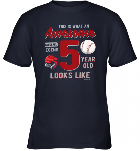 0yej kids 5th birthday gift awesome 5 year old baseball legend youth t shirt 26 front navy