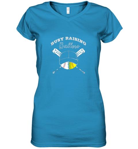 32fr busy raising ballers softball baseball mom funny gift women v neck t shirt 39 front sapphire