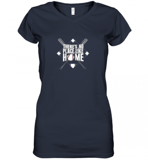 mjtu there39 s no place like home baseball tshirt mom dad youth women v neck t shirt 39 front navy
