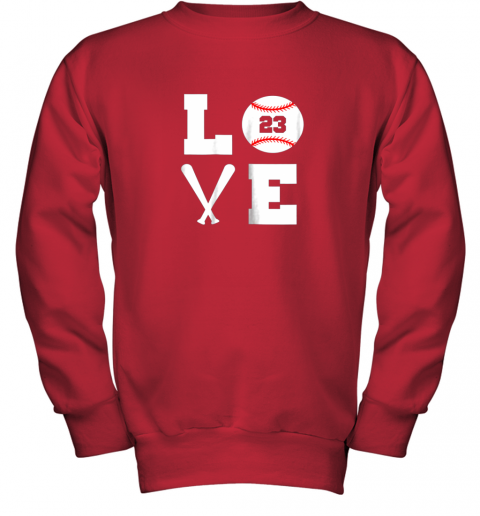 aipk i love baseball player number 23 gift shirt youth sweatshirt 47 front red