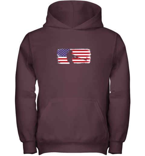 s6qo usa american flag baseball player perfect gift youth hoodie 43 front maroon