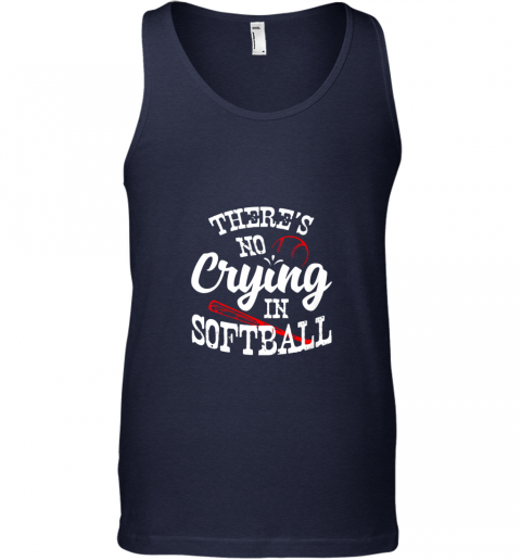 bnll theres no crying in softball game sports baseball lover unisex tank 17 front navy