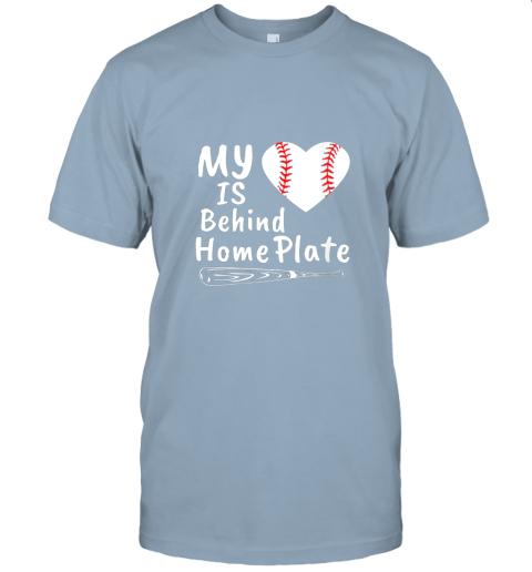 0osr womens my heart is behind home plate baseball bat mom dad gift jersey t shirt 60 front light blue