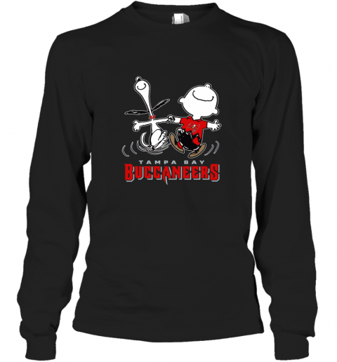 Snoopy And Charlie Brown Happy Tampa Bay Buccaneer Long Sleeve T-Shirt