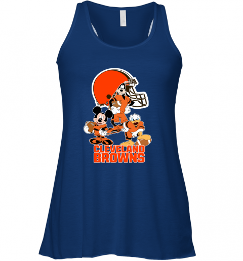 pwk3 mickey donald goofy the three cleveland browns football flowy tank 32 front true royal