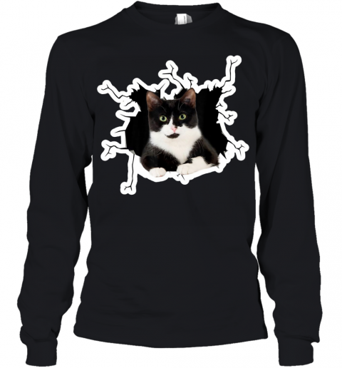 Tuxedo Cat Crack Hole Tuxedo Cat Ripper Torn Halloween gift Youth Long Sleeve