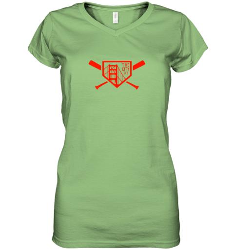 t24y cool san francisco baseball the city bridge sfo women v neck t shirt 39 front lime