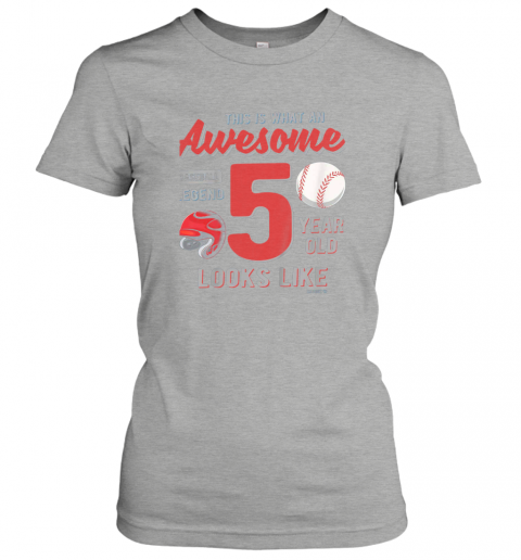 tqow kids 5th birthday gift awesome 5 year old baseball legend ladies t shirt 20 front ash