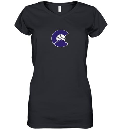 Colorado Rocky Mountain Baseball Sports Team Women's V-Neck T-Shirt