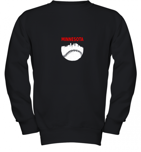 Retro Minnesota Baseball Minneapolis Cityscape Vintage Shirt Youth Sweatshirt