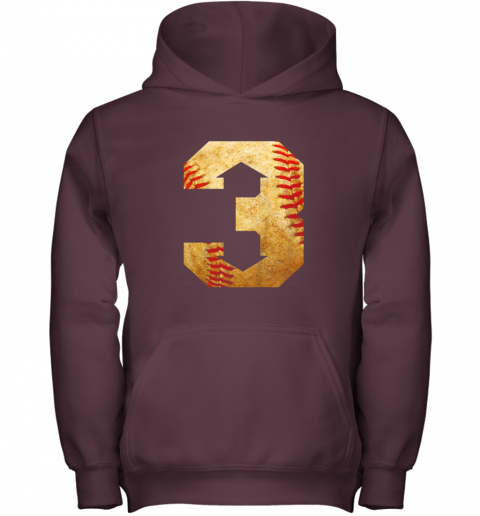 i1ey three up three down baseball 3 up 3 down youth hoodie 43 front maroon