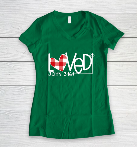 John 3 16 Loved Valentine Heart Women's V-Neck T-Shirt 3