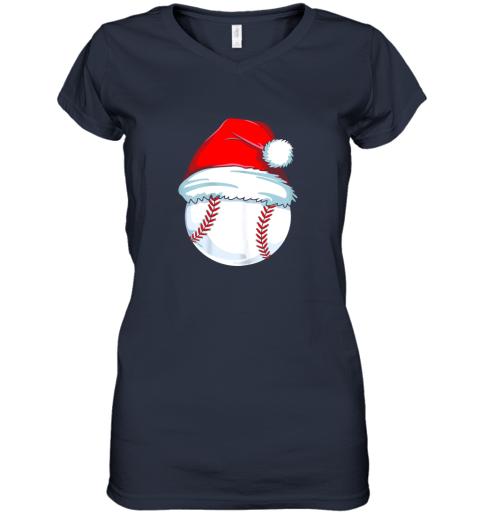 olng christmas baseball shirt for kids men ball santa pajama women v neck t shirt 39 front navy