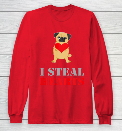 Pug Dog Valentine Shirt I Steal Hearts Long Sleeve T-Shirt 7