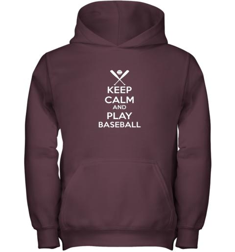oisq keep calm and play baseball youth hoodie 43 front maroon