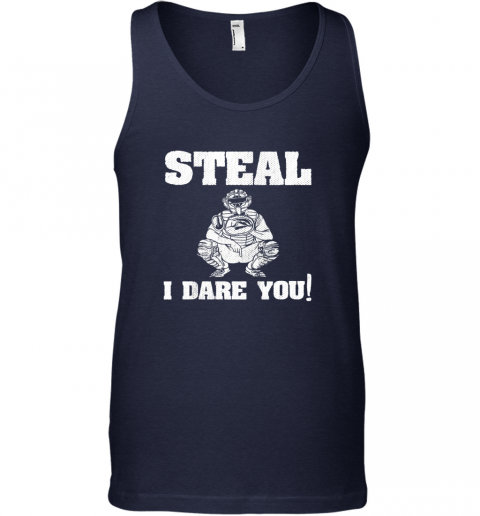 vfee kids baseball catcher gift funny youth shirt steal i dare you33 unisex tank 17 front navy