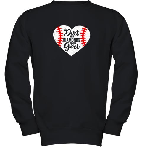 Dirt and Diamonds Kinda Girl Baseball Youth Sweatshirt