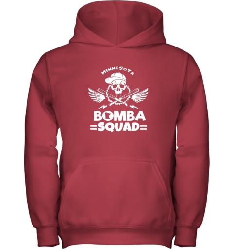 imaz bomba squad twins shirt minnesota baseball men bomba squad youth hoodie 43 front red