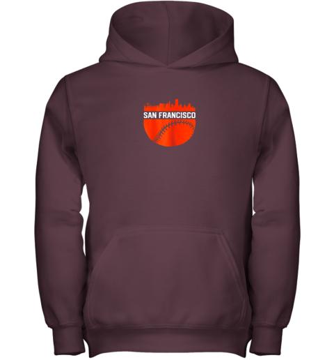 1pcv vintage downtown san francisco cali skyline baseball youth hoodie 43 front maroon