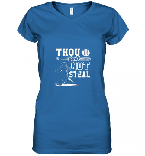 gx5y funny baseball thou shall not steal baseball player women v neck t shirt 39 front royal
