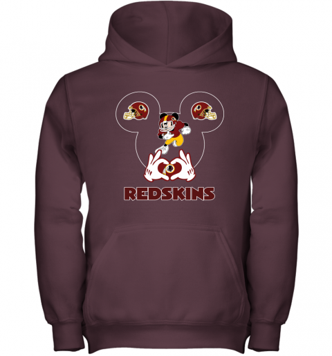 wcro i love the redskins mickey mouse washington redskins youth hoodie 43 front maroon