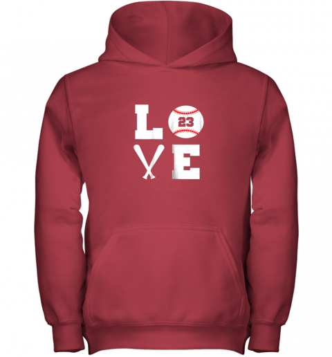 hgaw i love baseball player number 23 gift shirt youth hoodie 43 front red