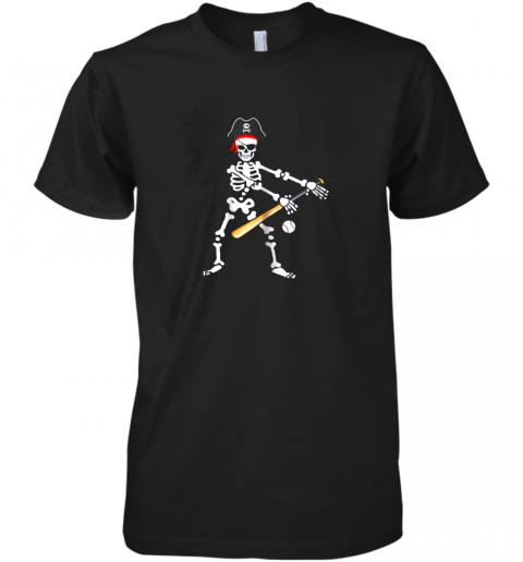 Skeleton Pirate Floss Dance With Baseball Shirt Halloween Premium Men's T-Shirt