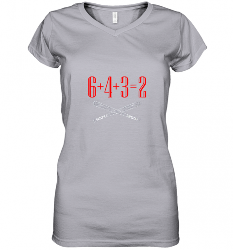 ury6 funny baseball math 6 plus 4 plus 3 equals 2 double play women v neck t shirt 39 front sport grey