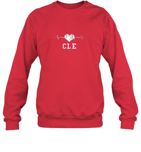 4vy5 cleveland baseball shirt cleveland ohio heart beat cle sweatshirt 35 front red