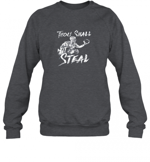 l0bp thou shall not steal baseball catcher sweatshirt 35 front dark heather